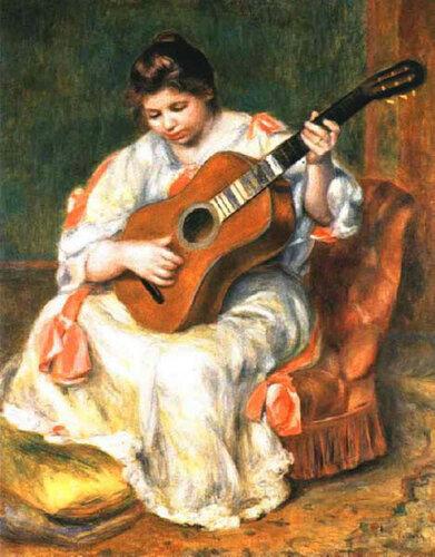 Ренуар Женщина, играющая на гитаре