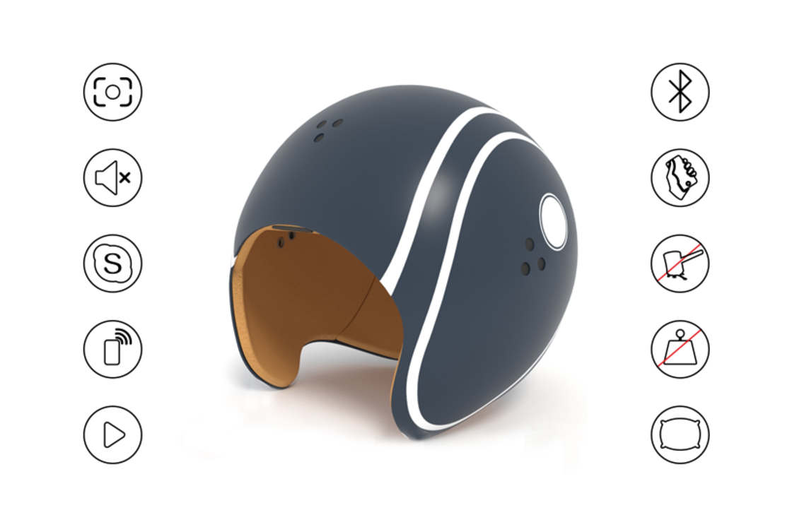 Helmfon - Wearing a helmet for isolation in the open space?
