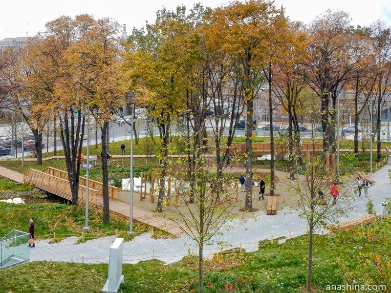 """Ландшафтные зоны «Пойменный лес» и «Заливные луга», парк """"Зарядье"""", Москва"""