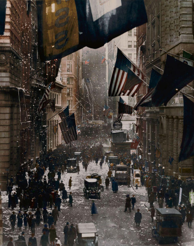 1918. Торжества на Уолл-стрит после капитуляции Германии