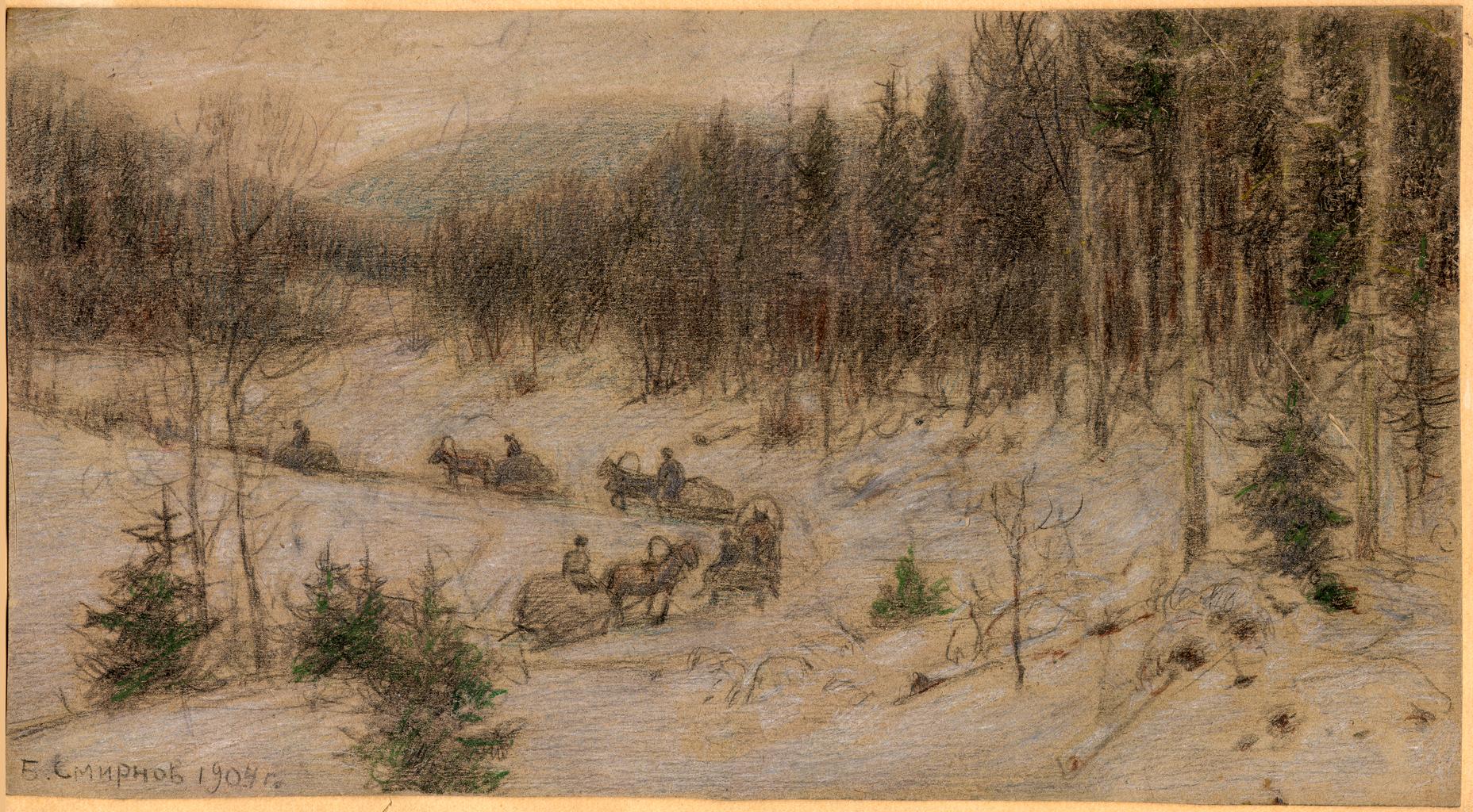 Сибирский тракт зимой. Идет обоз в лесу в районе Красноярска