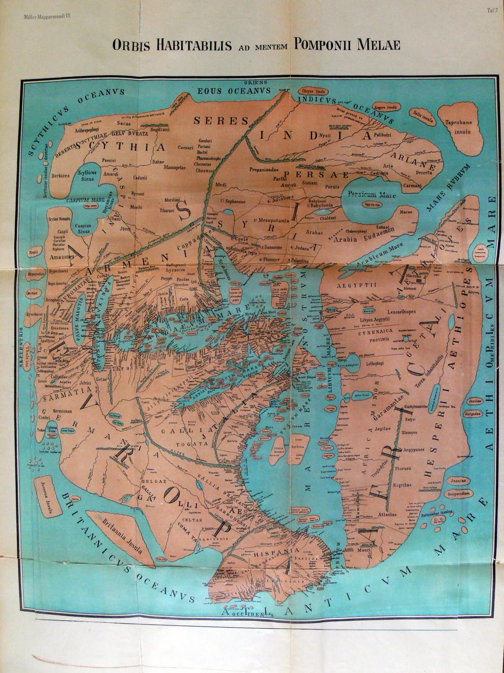 Помпоний Мела — самый ранний римский географ.  Карта несовпадения астрономического времени с вре