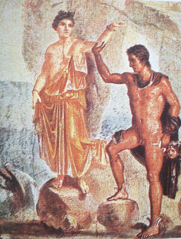 Персей и Андромеда (фреска из дома Диоскуров в Помпеях, 65-70 гг.)