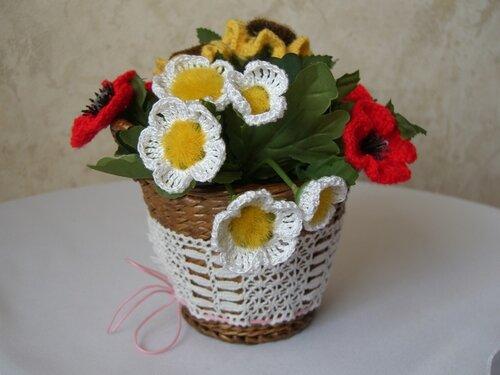 Вязание крючком корзинка для цветов