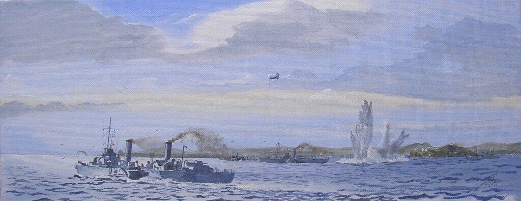 HM Ships Queen of Thanet, Westward Ho and Skidaw, Paddle minesweepers, detonate a mine off Inchkeith in the Forth.