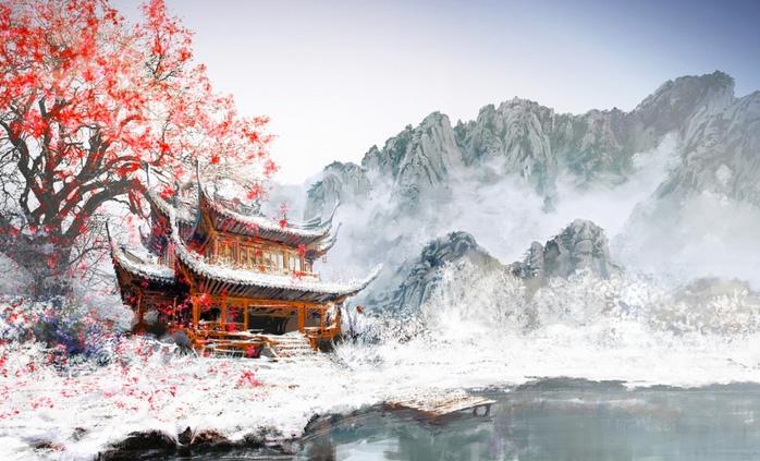Однажды ночью в провинции, где располагался монастырь, прошёл сильнейший снегопад. Утром ученики, пр