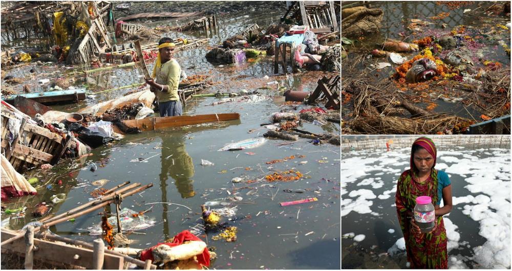 Вода в реках Индии является небезопасной (9 фото)