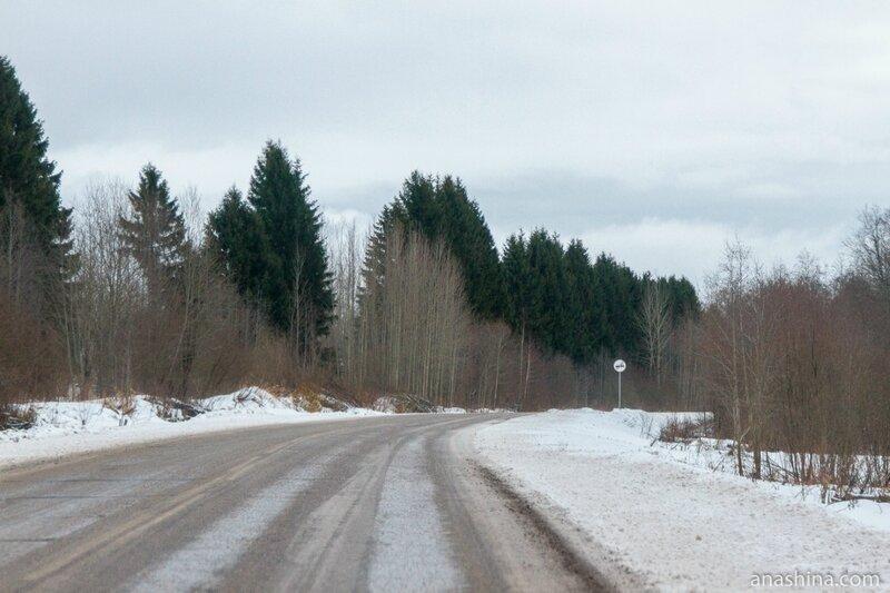 Дорога вдоль Рыбинского водохранилища