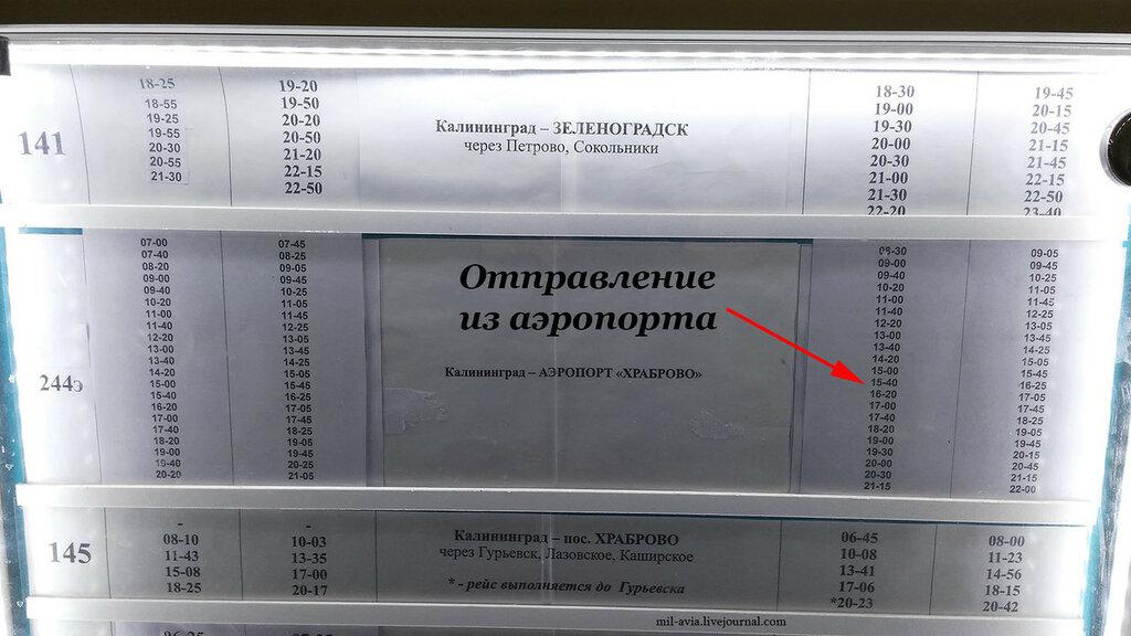 Маршрутка из аэропорта Храброво в Калининград. Расписание
