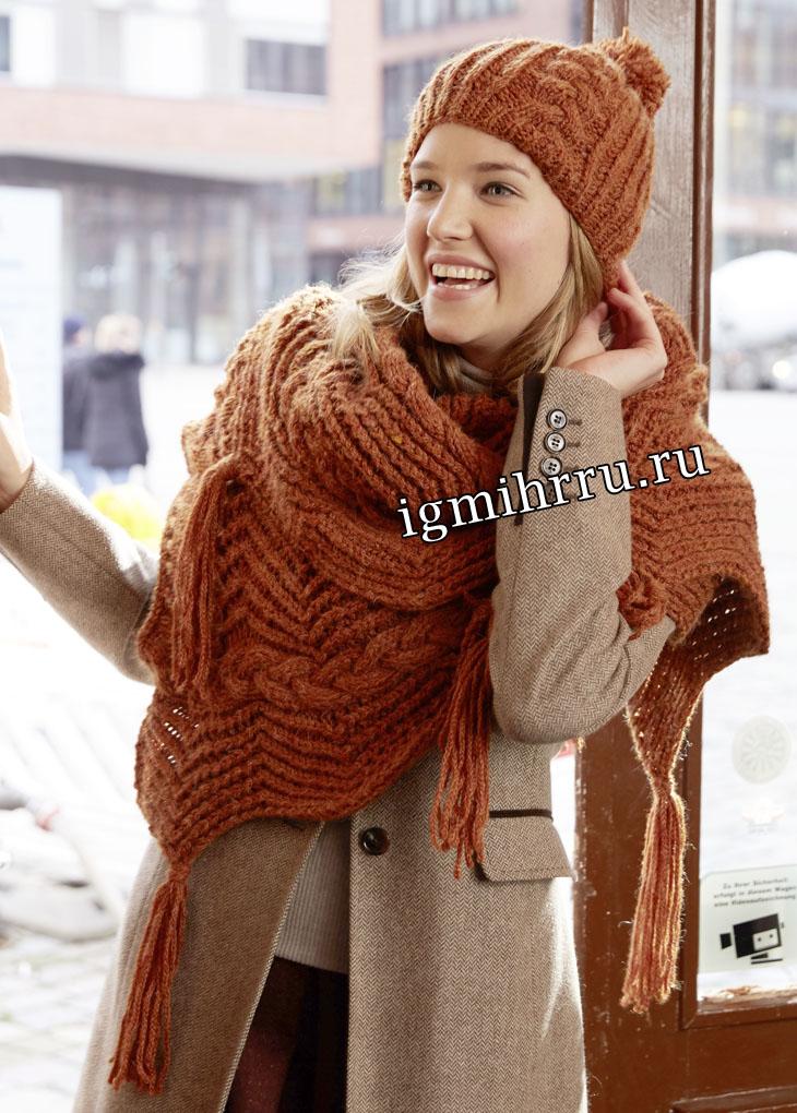 Коричневый комплект: шапочка с косами и шарф с зигзагами. Вязание спицами