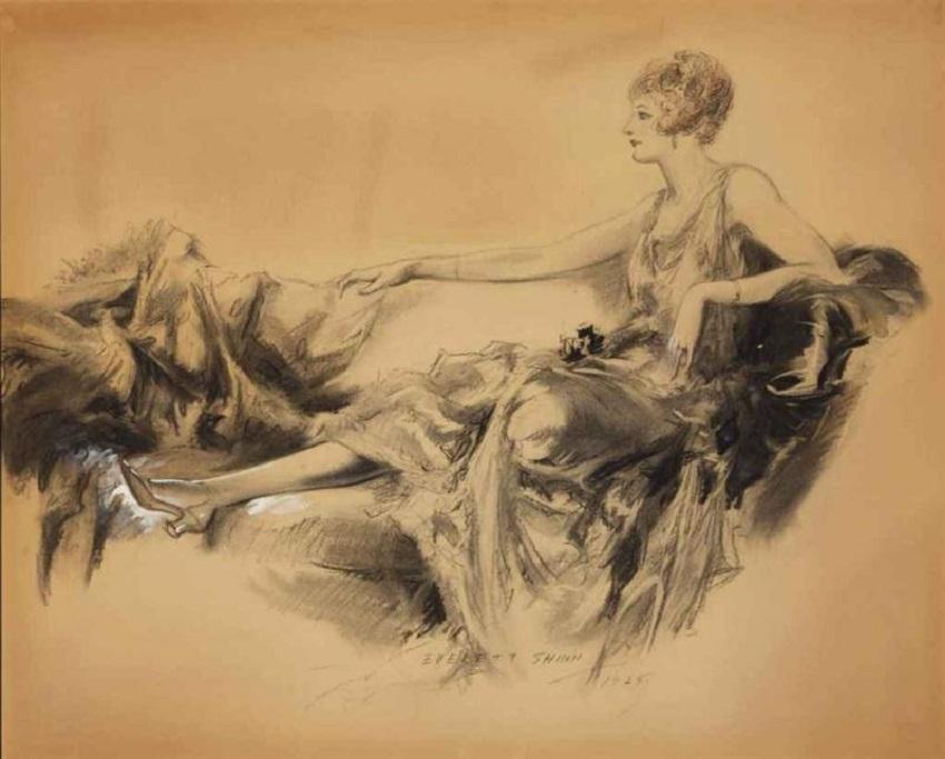 An elegant woman in repose , 1925.