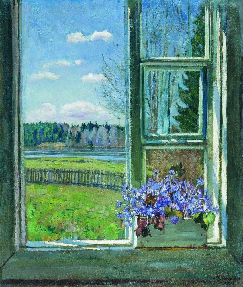 Окно с фиалками. 1931.jpg