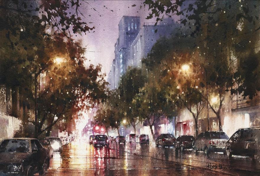 Дождливая акварель художника Лин ЧингЧе (14 фото)