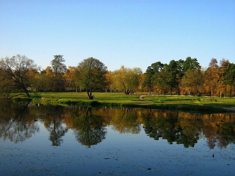 Осенний пейзаж у дальнего пруда
