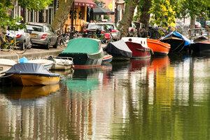 Амстердам, каналы, лодки