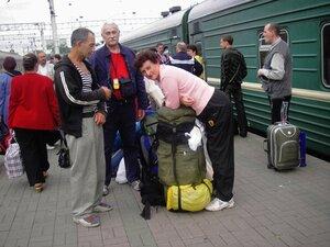 На платформе Казанского вокзала в Москве.