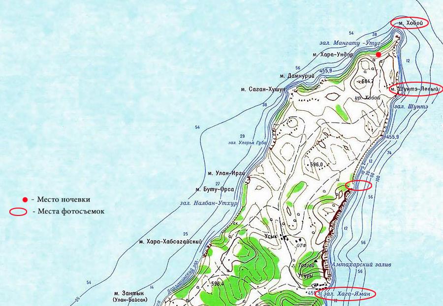 Карта северной оконечности Ольхона