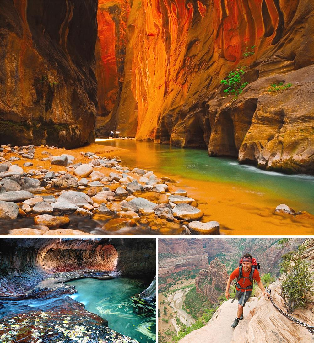 Зион— нагромождение скал икаменных плато, изрезанных глубокими каньонами ипричудливыми тоннелями.