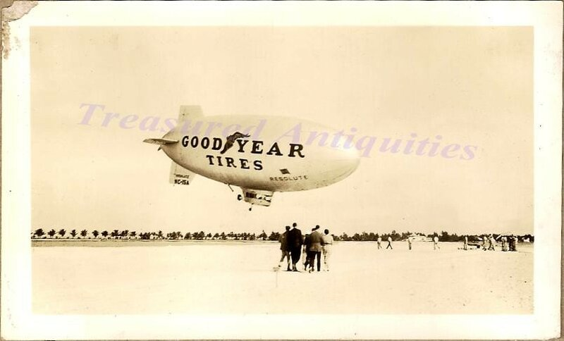 Great close-up photo view showing Goodyear Resolute blimp #NC-15A. Either taking off or landing from flight.