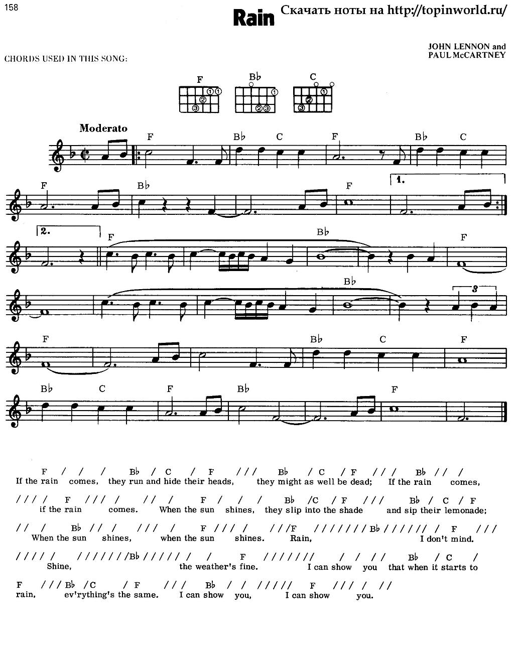 The Beatles Rain слушать онлайн скачать mp3 текст песни перевод ноты аккорды