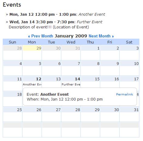 ics calendar, плагин для расширения календаря WordPress