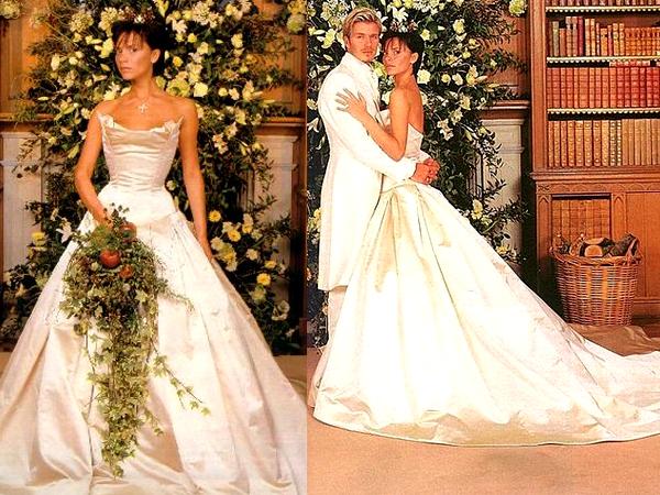 Виктория и Девид Бекхэм в свадебных нарядах