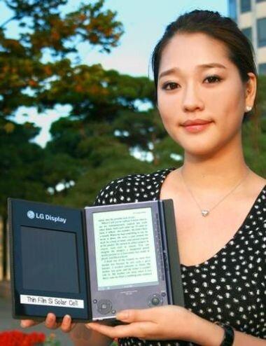 Пример использования солнечной батареи от LG с ридером Sony Reader PSR-505