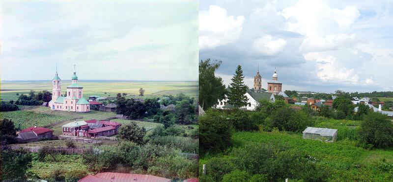 Борисоглебская церковь в Суздале в 1912 и в 2009 гг.
