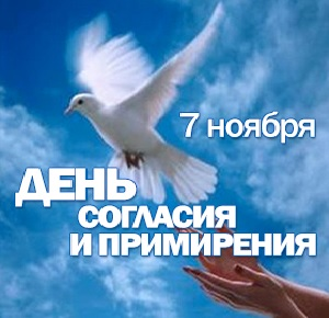 Открытка. С днем согласия и примирения! Голубь летит в небе