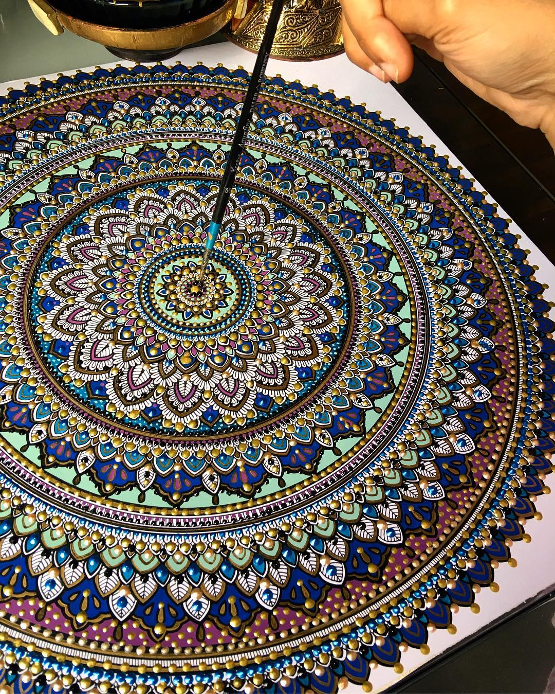 New Painted Mandalas Gilded with Gold Leaf by Artist Asmahan Rose Mosleh (8 pics)