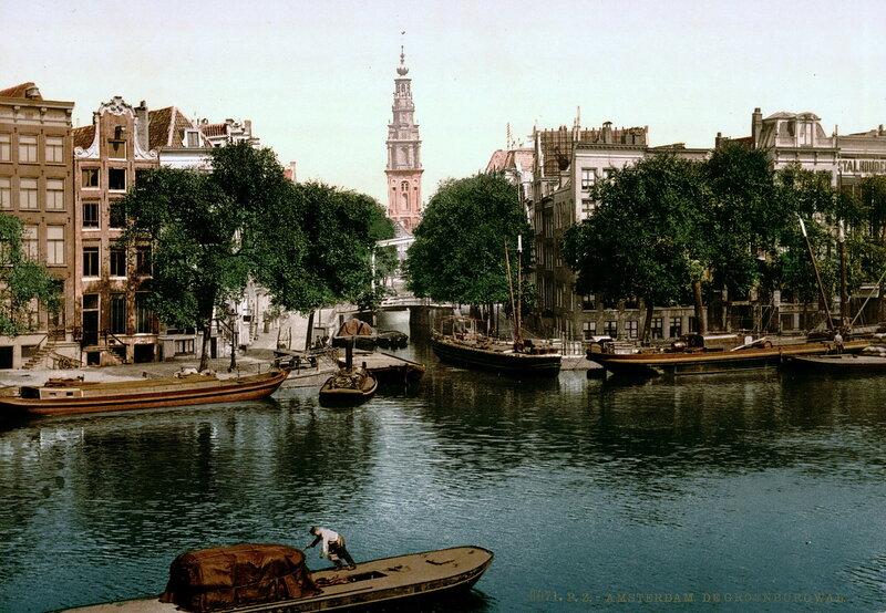 канал Грунбургвал, на заднем плане Южная церковь (Зёйдеркерк); конец XIX века