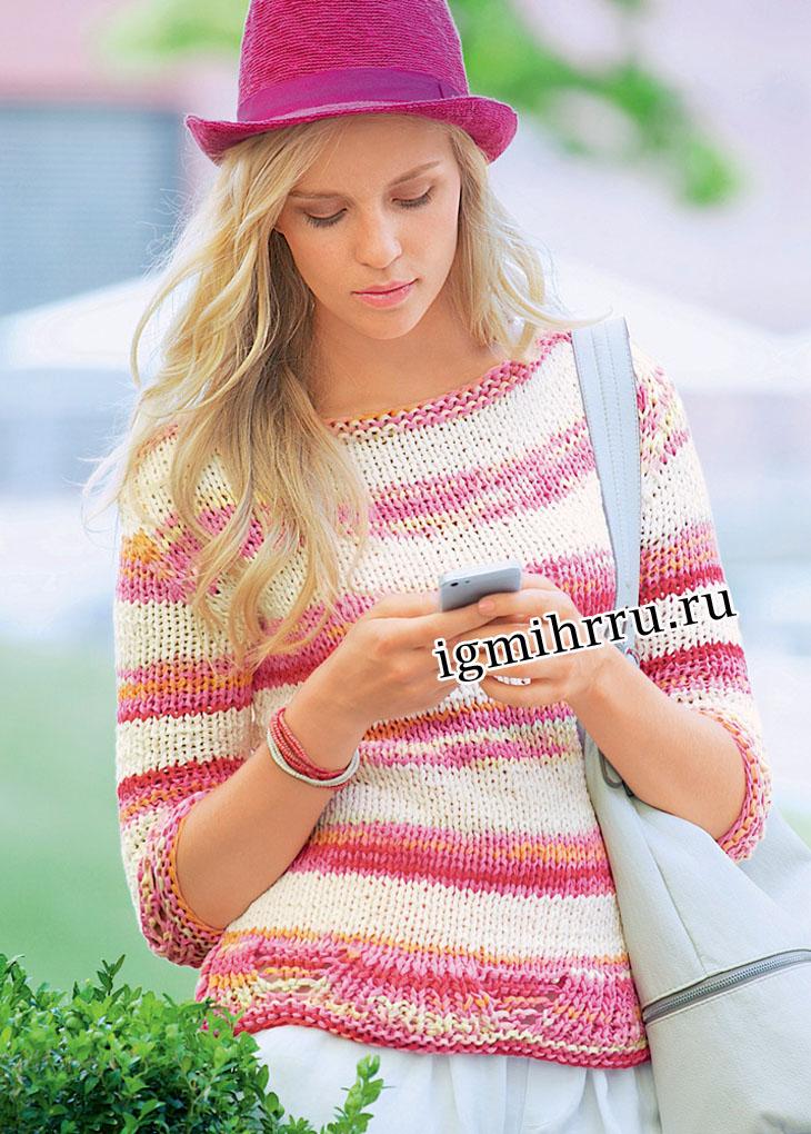 Бело-розовый пуловер с ажурной планкой. Вязание спицами
