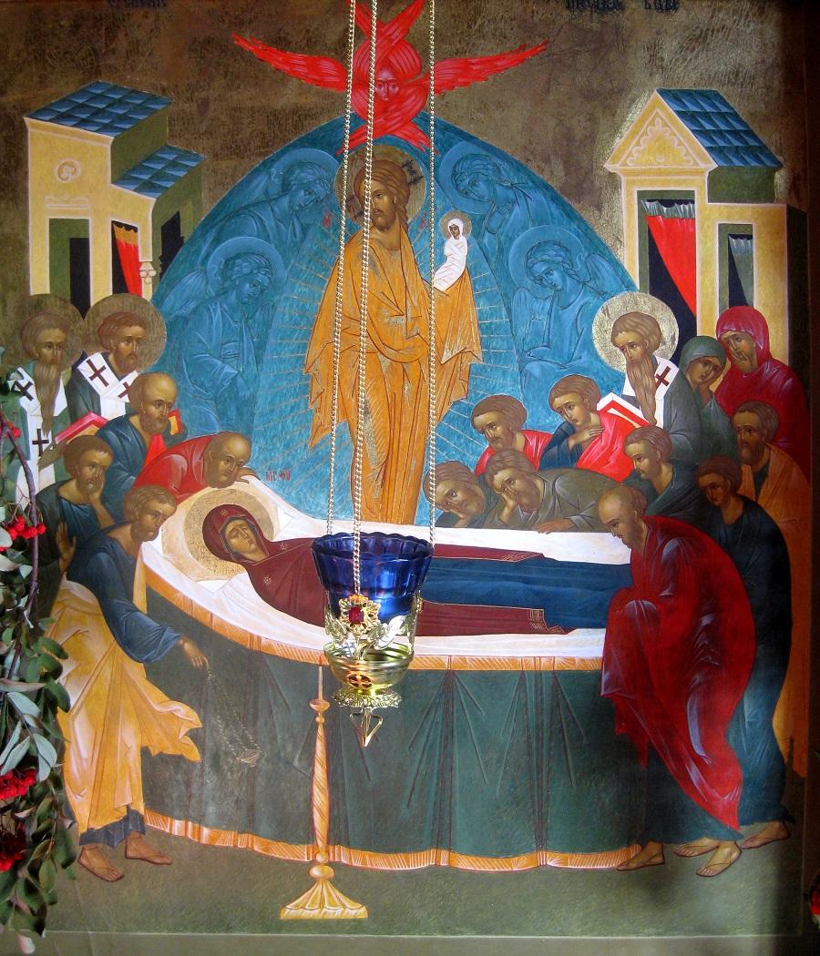 Успение Богородицы. Икона, картина. Церковь Успения Божией Матери (1774 г.) в Кондопоге..jpg
