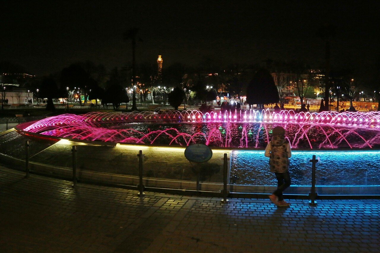 Istanbul Night Life. Fountain on Sultanahmet square