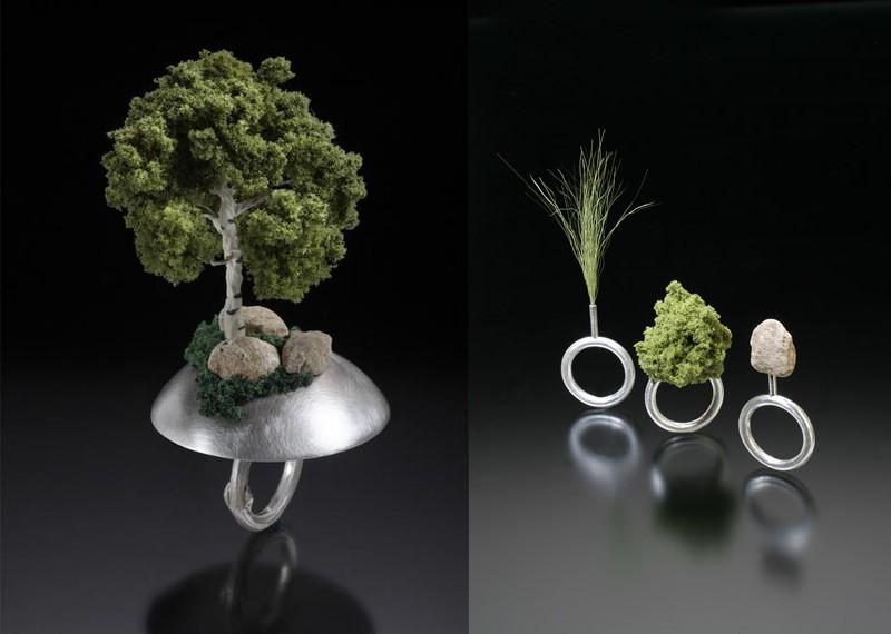13. Лес Дизайнерские кольца с миниатюрными деревьями и травами.