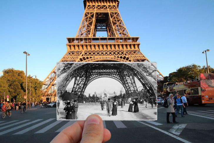 Эйфелева башня сейчас и в 1900 году.