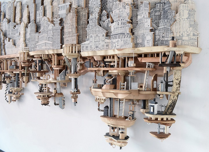 Miniature Cities Built with Carvings and Illustrations (19 pics)