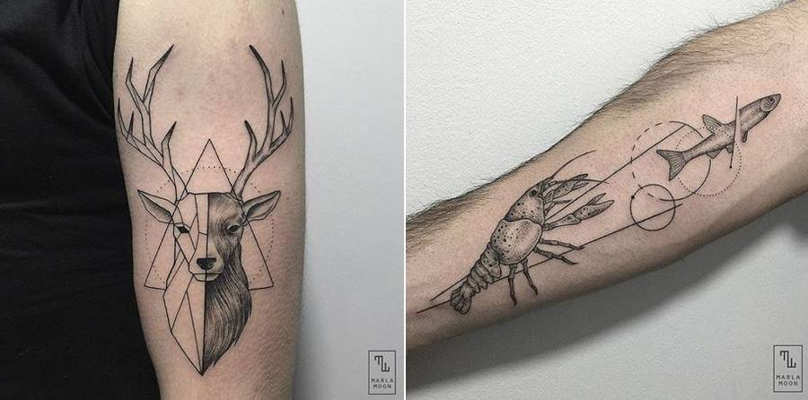 Thrilling Geometric Black and White Tattoos (16 pics)