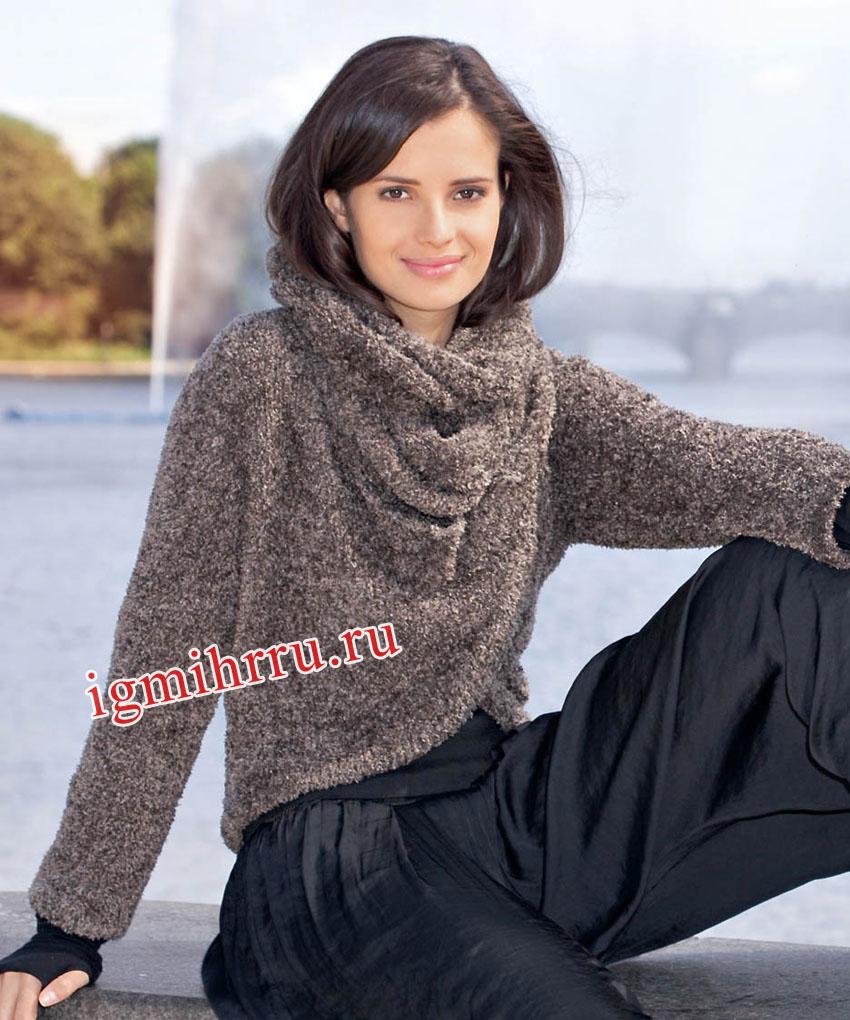 Коричневый пуловер с воротником-шарфом. Вязание спицами