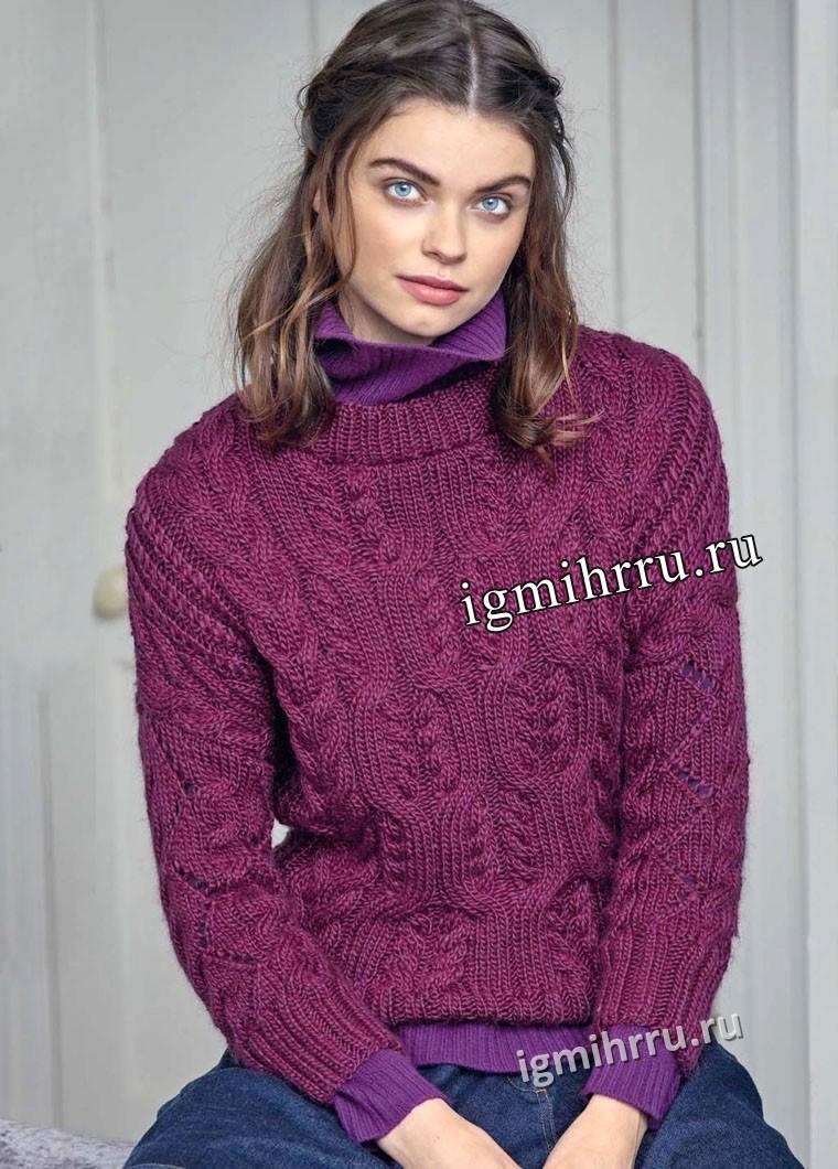 Теплый и мягкий пуловер цвета фуксии с миксом узоров из кос. Вязание спицами
