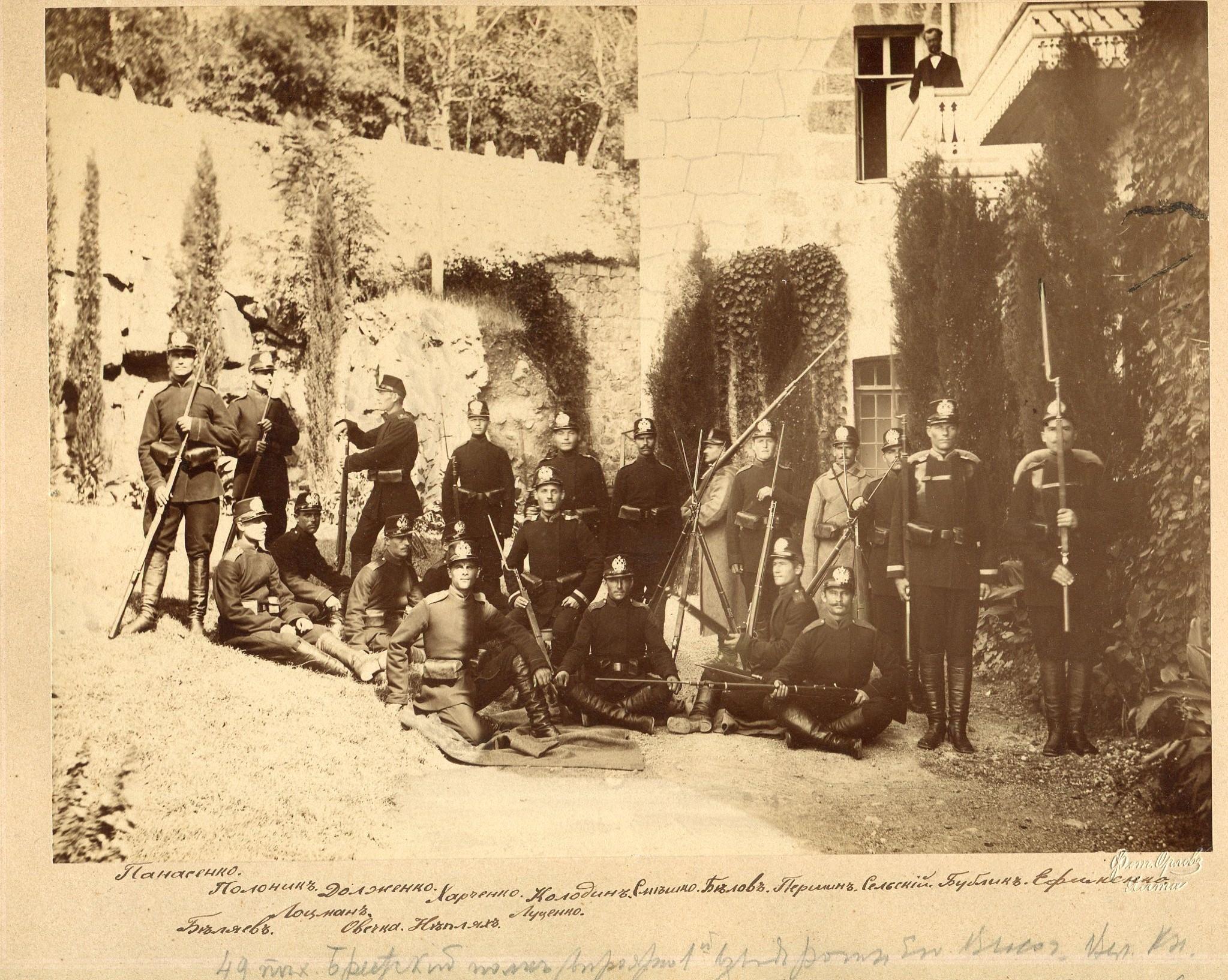 Фотография младших чинов 49-ого пехотного Брестского полка. 1882