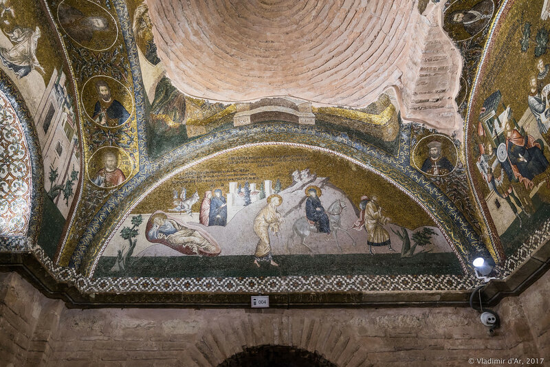 Сон Иосифа. Мария в окружении двух спутников. Путешествие в Вифлеем. Мозаики и фрески монастыря Хора. Церковь