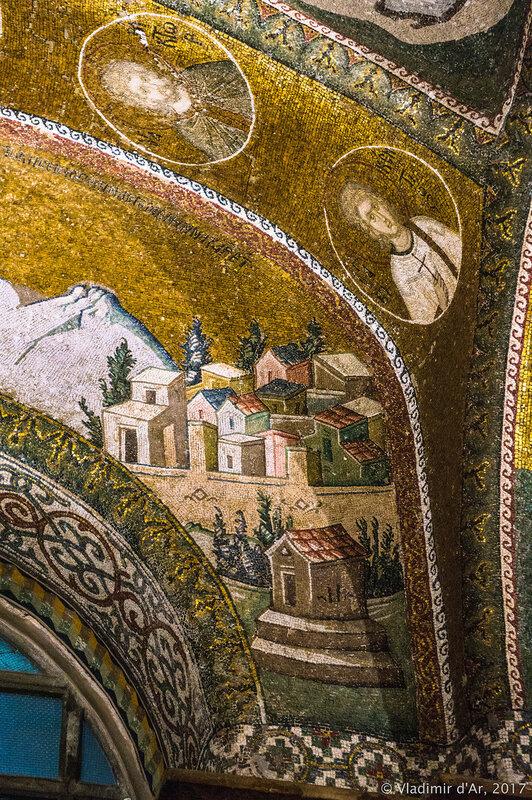 Мария в окружении двух спутников. Путешествие в Вифлеем. Мозаики и фрески монастыря Хора.