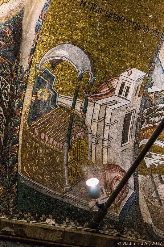 Первосвященник Захария, выбирает для Марии мужа по жребию. Мозаики и фрески монастыря Хора.