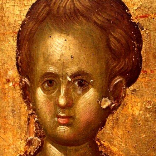 Лик Младенца Христа. Фрагмент византийской иконы.