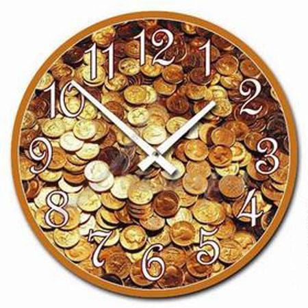 Открытки к Дню Финансиста! Часы с деньгами