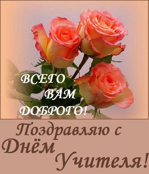 Открытка. С днем учителя! Всего Вам доброго! Розы