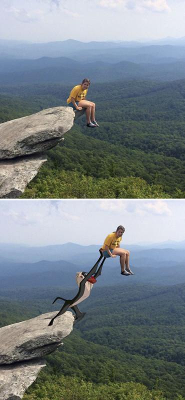 Девушка на скале.
