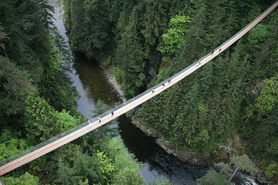 49. Мост длиной 231 метр перекинут над рекой Капилано, а в своей самой высокой точке достигает высот