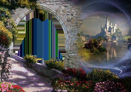 Романтическая фоторамка со старинным замком